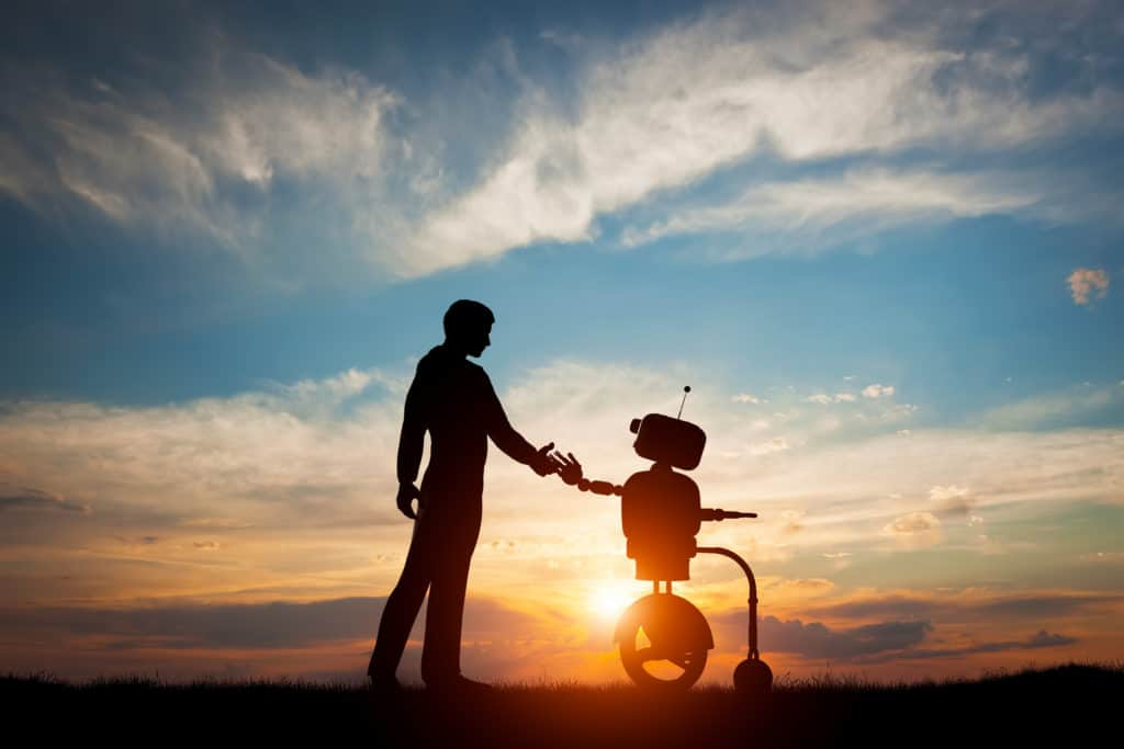 Man and robot greet